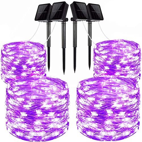 LiyuanQ Solar String Lights, 4 Pack 100 LED Solar Fairy Lights 33 Feet 8 Modes Silver Wire Lights Waterproof Outdoor String Lights for Garden Patio Gate Yard Party Wedding Indoor Bedroom Purple