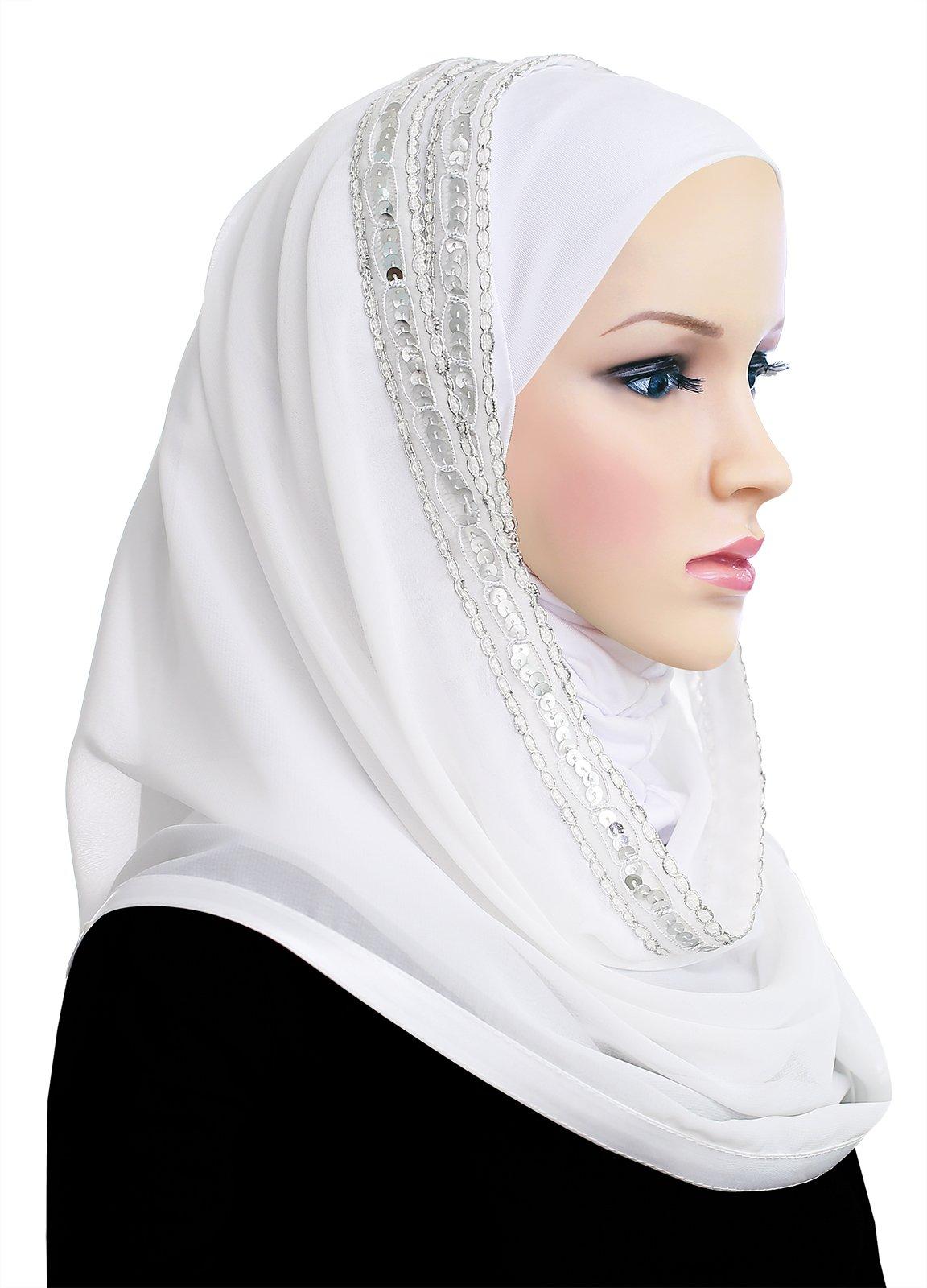 Muslim Women's Luxor Wrap Hijab Kuwaiti Mona (White)