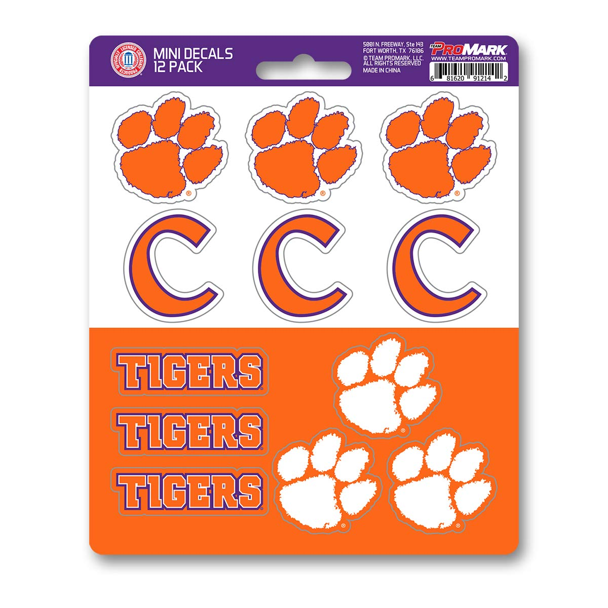 One Size Team Color 12 Pack ProMark NCAA Clemson Tigers Decal Set Mini