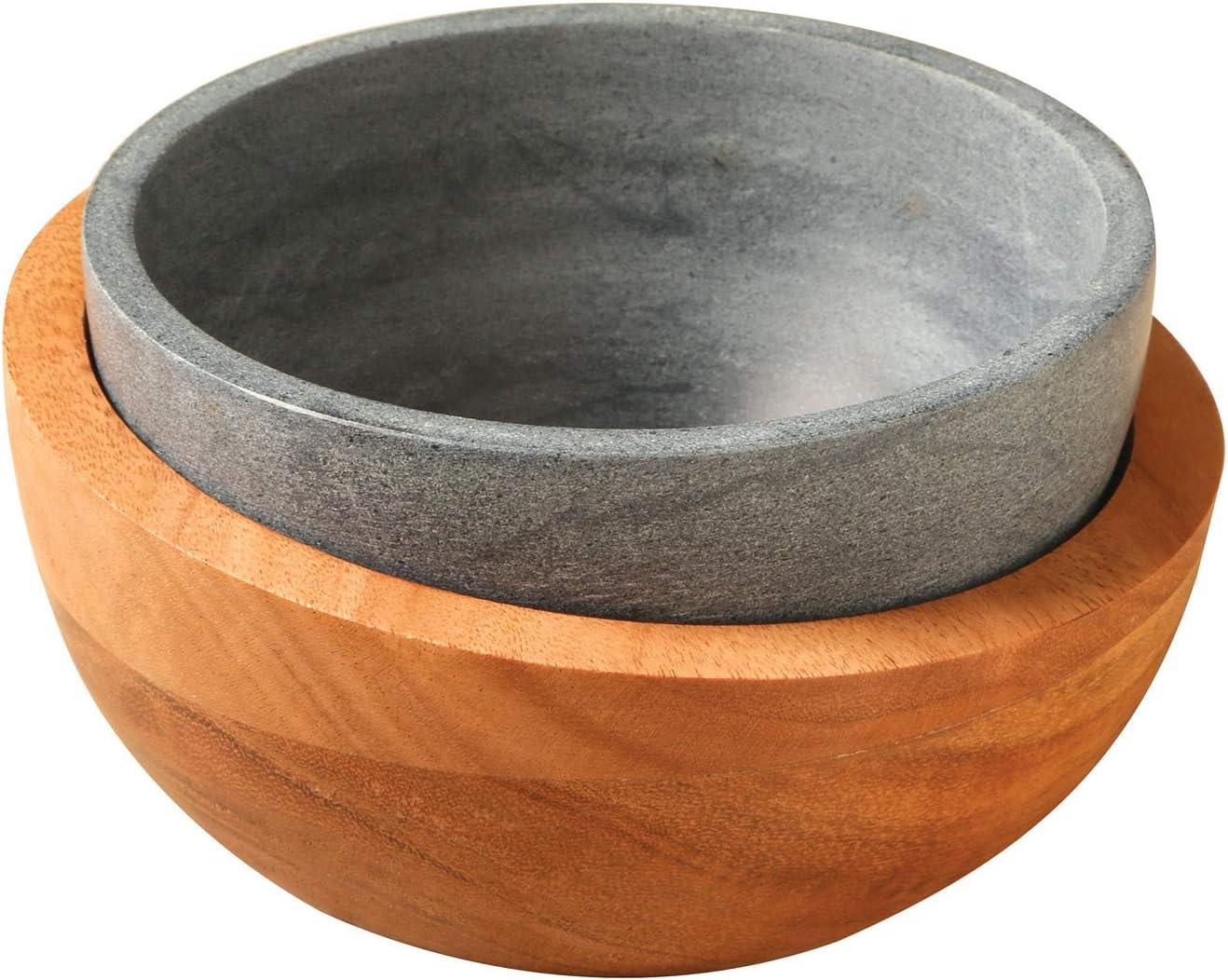 Soapstone & Wood Ice Cream Bowl Set - Freezable Stone Bowl, Insulating Wood Bowl