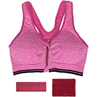 Women Breathable Seamless Sports Bra High Impact Support Yoga Gym Workout Fitness with Headband & Wrist Band