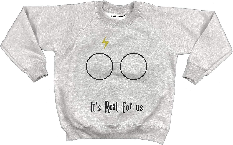 Felpa Girocollo Felpata Unisex Bambino Bambina ItIs Real for Us Harry Potter Grigio