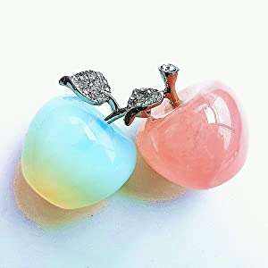 Gemgogo 2 Pcs Apple Crystals and Healing Stones Figurines Collectibles,1.18 Inches Room Decor Christmas Decorations Office Gifts(Rose Quartz+Opalite)