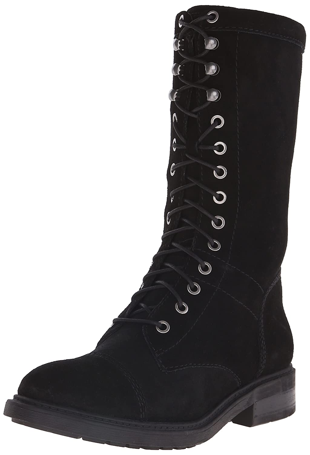 Nine West Women's Gunner Suede Lace-up Ankle Boot Black