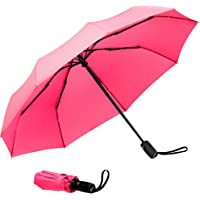 """Compact""""Teflon"""" Fast Drying Travel Umbrella, Reinforced Windproof Frame, Lifetime Replacement Guarantee, Auto Open/Close, Slip-Proof Handle for Easy Carry"""