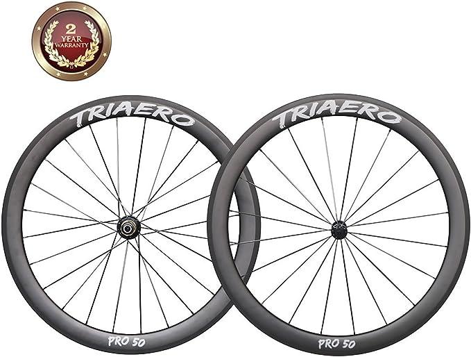 IMUST 700C Aero 50mm Cerámica Rodamientos Buje Carbono Carretera Bicicleta Rueda Clincher 23mm Anchura 1557g/pair: Amazon.es: Deportes y aire libre