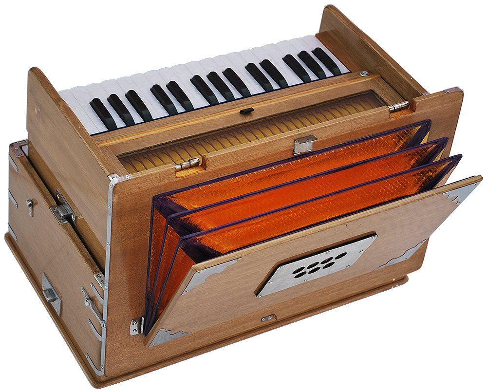 Safri Harmonium- 2¾ Octave By Kaayna Musicals-Portable, Traveler, Baja, 4 Stops (2 Drone), Two Set Reed- Bass/Male, Teak Color, Gig Bag, Tuning: 440 Hz, Suitable for Yoga, Bhajan, Kirtan, Mantra, etc by Kaayna Musicals (Image #7)