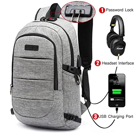 Review SUMSUNSHINE Laptop Backpack, Anti-theft Business Laptop Backpack with USB Port - Water Resistant Travel Backpack Book School Bag for College Student Work Men & Women
