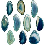 """Crystal Allies Gallery: Set of 10 Assorted 1.5"""" to 2"""" Natural & Dyed Agate Druzy Thin Pendant Slices w/ 2mm Drilled Hole - Choose Your Variation"""