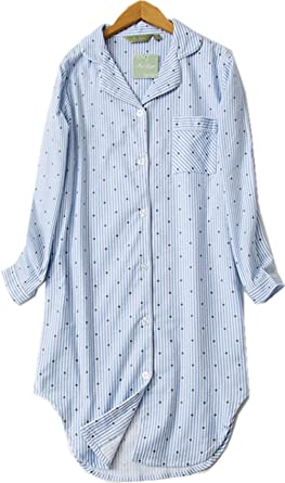 fcc7917b5e Luckytung Women s Flannel Nightshirt Button Down Boyfriend Nightgown Mid- Long Style Sleepshirt CSY01-Blue