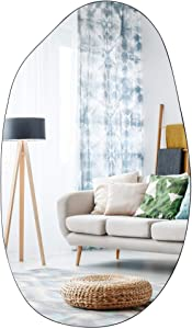 Asymmetrical Accent Wall Mounted Mirror Decorative Living Room Bedroom Entryway, 19.7 x 33.5 Inches