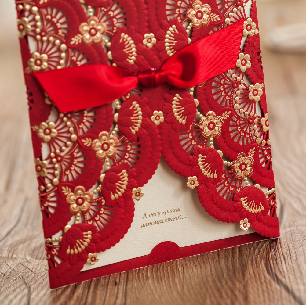 Wishmade 50x Red Laser Cut Lace Invitations Cards For Wedding ...
