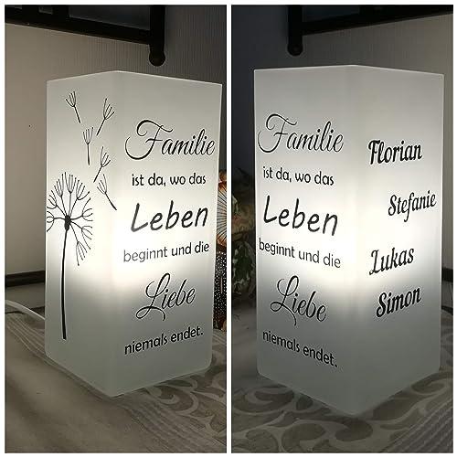Individualisierbare Familienlampepusteblume Verschiedene Sprüchebeplottetaus Glas