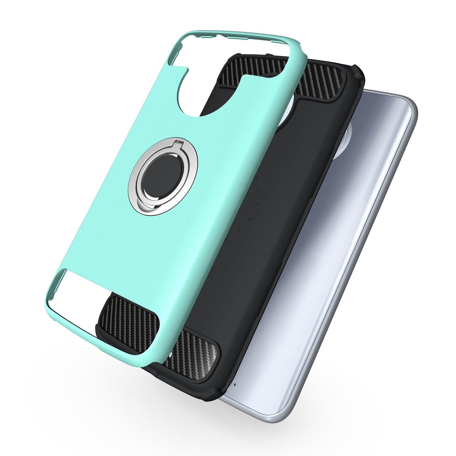 Newseego Ring Stand for Moto X4 Case Armor Dual Layer 2 in 1 with Extreme Heavy Duty Protection and 360 Degree Finger Ring Holder Kickstand Fit Magnetic Car Mount for Moto X4-Green