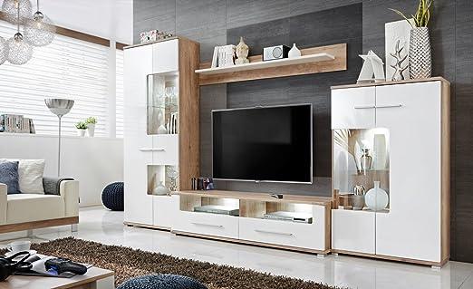 Anbauwand Wohnzimmer Schrankwand Möbelset Wohnwand, TV-Lowboard, Esszimmer,  Schrankwand Salvador, Wohnzimmer, Weiß Eiche, Maße: 320 x 194 x 47 cm ...