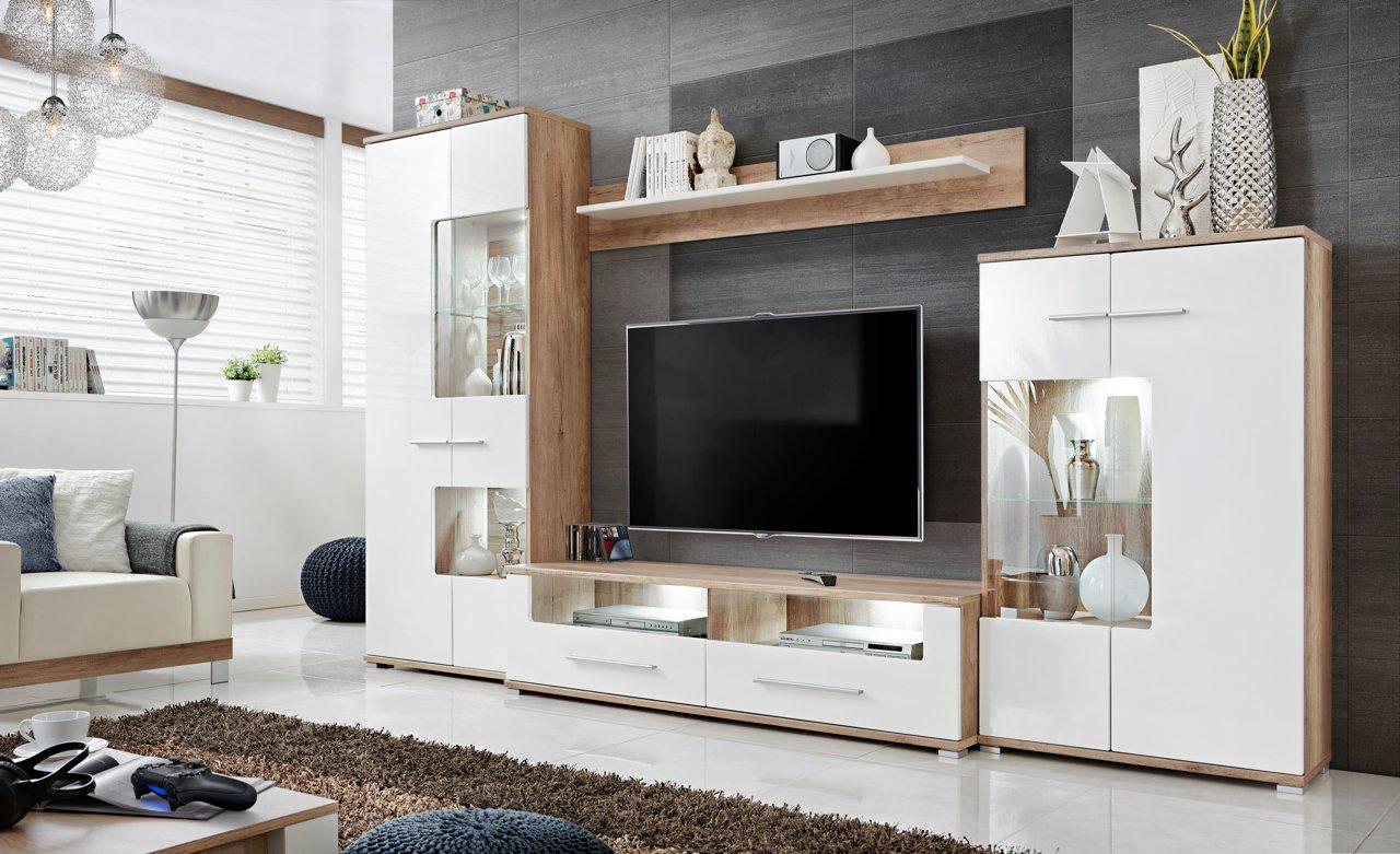 Anbauwand Wohnzimmer Schrankwand Möbelset Wohnwand, TV-Lowboard