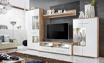 Anbauwand Wohnzimmer Schrankwand Möbelset Wohnwand, TV Lowboard, Esszimmer,  Schrankwand Salvador, Wohnzimmer