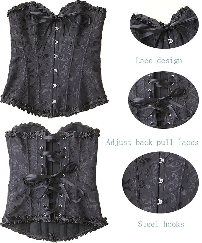 b3cf89dfe3 Amazon.com  GIRL MELODY Women s Lace up Boned Plus Size Overbust Waist  Cincher Corset Bustier Bodyshaper Top  Clothing