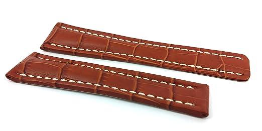 Paski do zegarków Herzog Ersatzband Uhrenarmband Leder Honig 22mm passend zu Breitling 8665522 Akcesoria