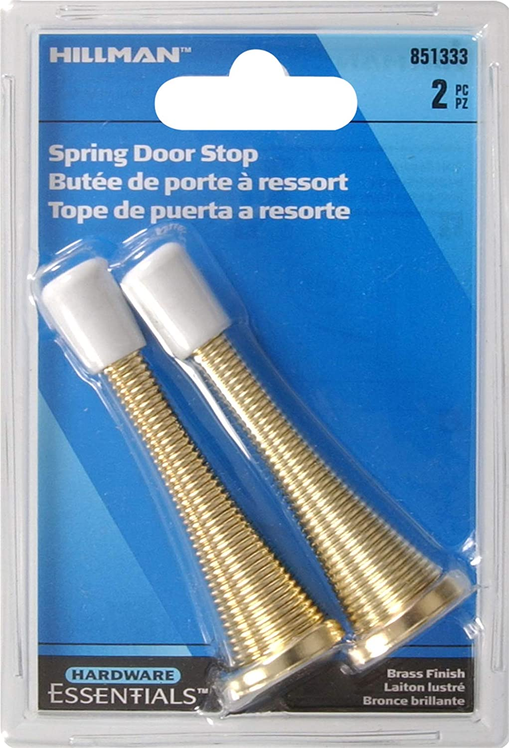Hillman Hardware Essentials 851333 Spring Door Stops Brass 2 pack