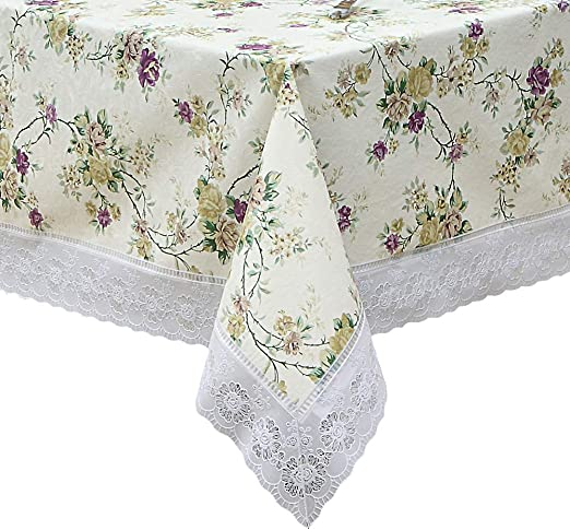 Black White Lace Flowers Modern Tablecloth Vinyl PVC Oilcloth Wipe//Clean Fabric