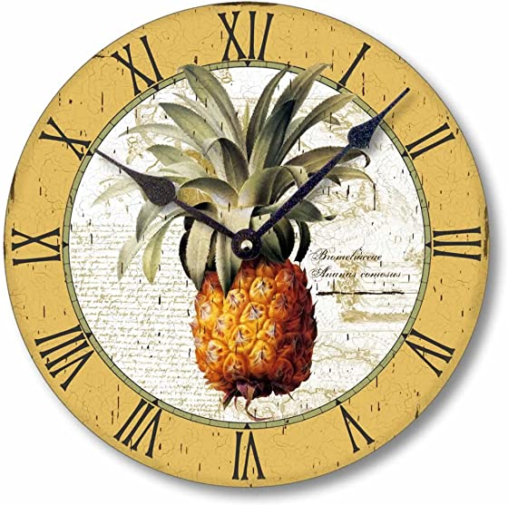 Fairy Freckles Studios Item C2100 Vintage Style British Colonial Pineapple Clock 12 Inch Diameter