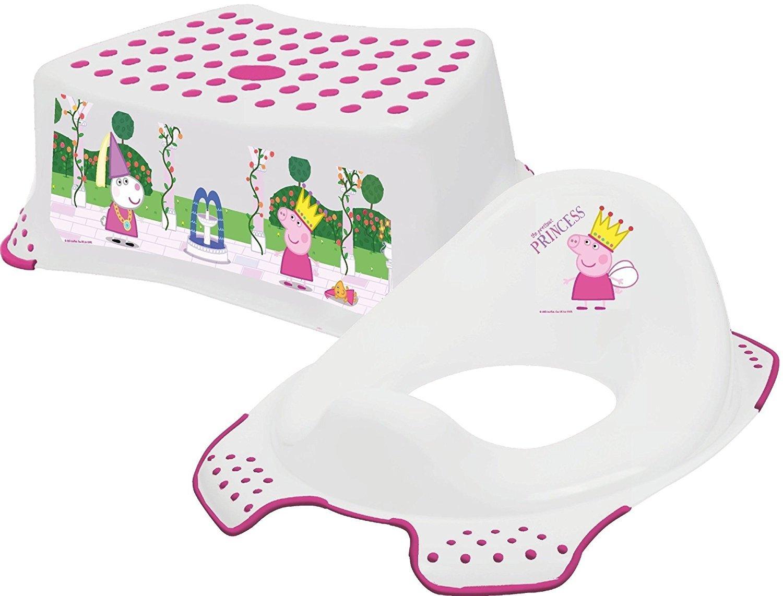 Peppa Pig–Princesse Peppa–Marchepied + Réducteur de toilette Combo OKT Kids