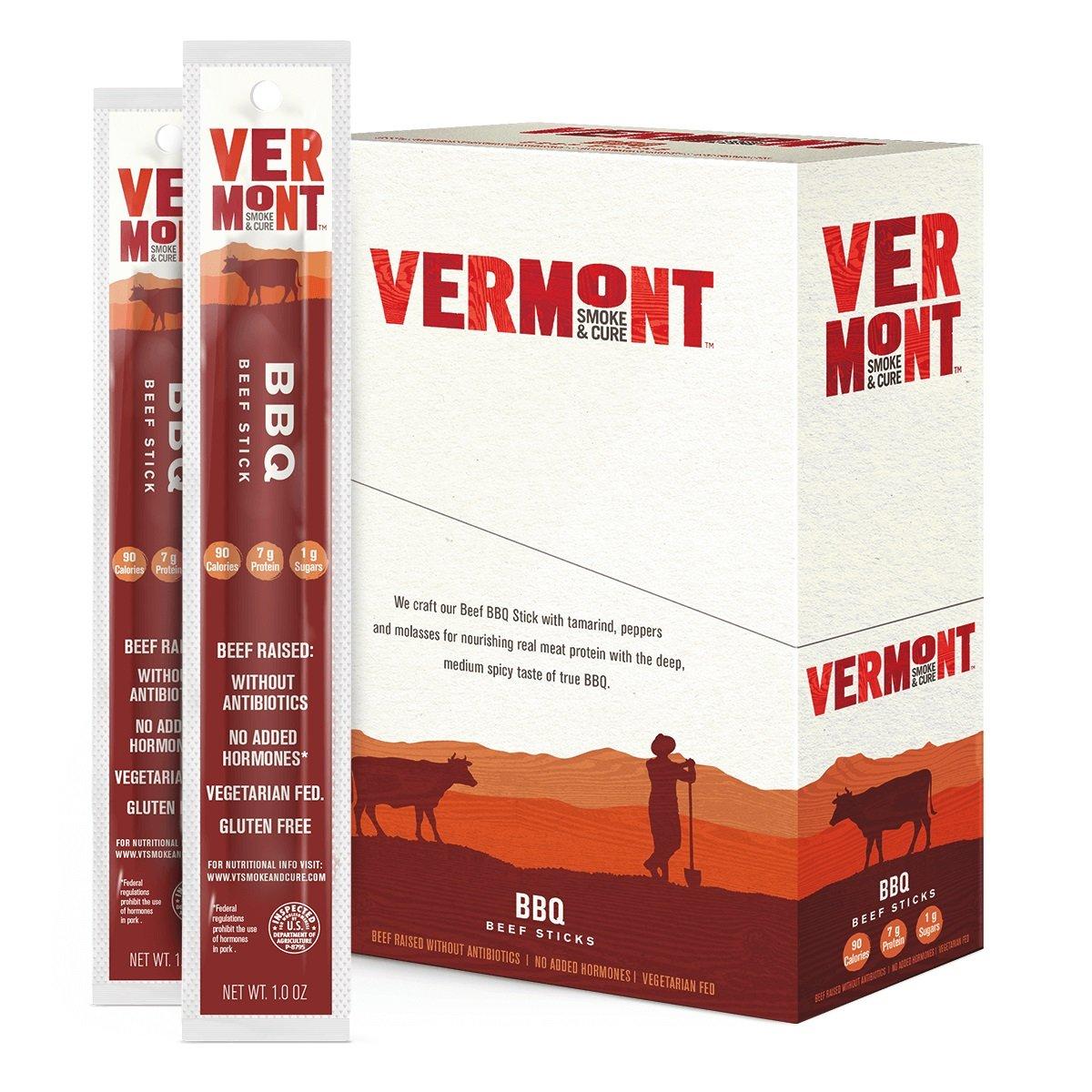 Vermont Smoke & Cure Meat Sticks - Antibiotic Free Beef Jerky Sticks - Gluten Free - Paleo & Keto Approved - BBQ - 1oz Stick -24 Count