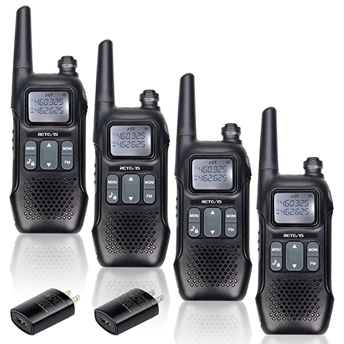 Retevis RT16 Walkie Talkie Rechargeable FM FRS Radios Dual Watch 121 Privacy Codes Security Two-Way Radio for Adult with NOAA Weather Alert(4 Pack)