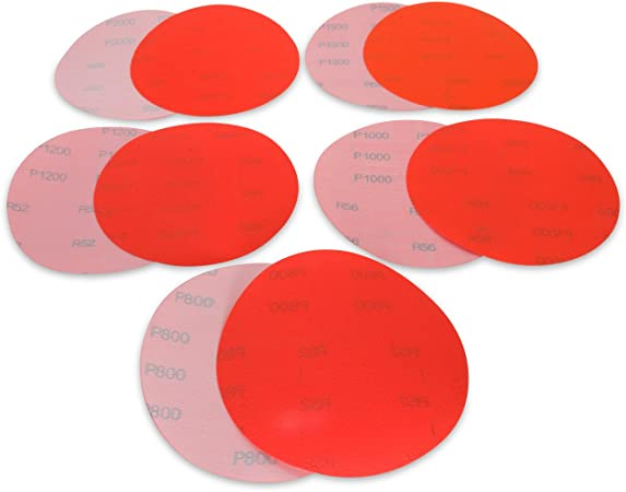 "6"" Film Sanding Discs 6-Holes Hook /& Loop 50-Pcs Ideal for Car Repair Grit P2000"
