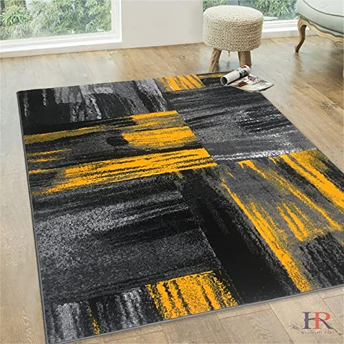Yellow Grey Silver Black Abstract Contemporary Modern Design Mixed Brush Pattern Colors Area Rug
