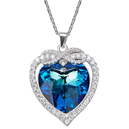 9373e91aa16b Aroncent Collar de 925 Plata Esterlina con Colgante de Swarovski Cristal  Corazón y Infinido de Amor