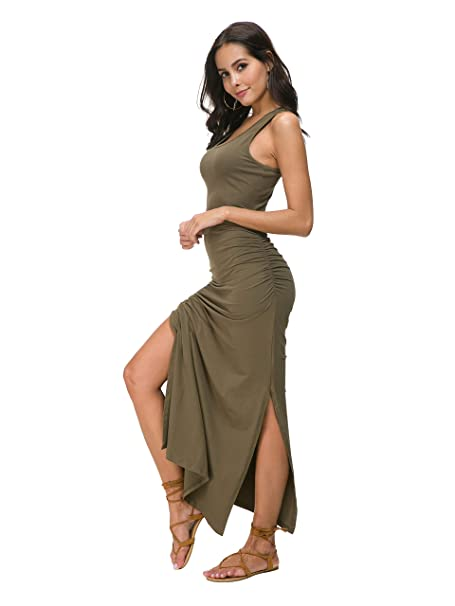 90e105e48f3 Missufe Women's Sleeveless Racerback Ruched Split Maxi Tank Dress (Army  Green, X-Large