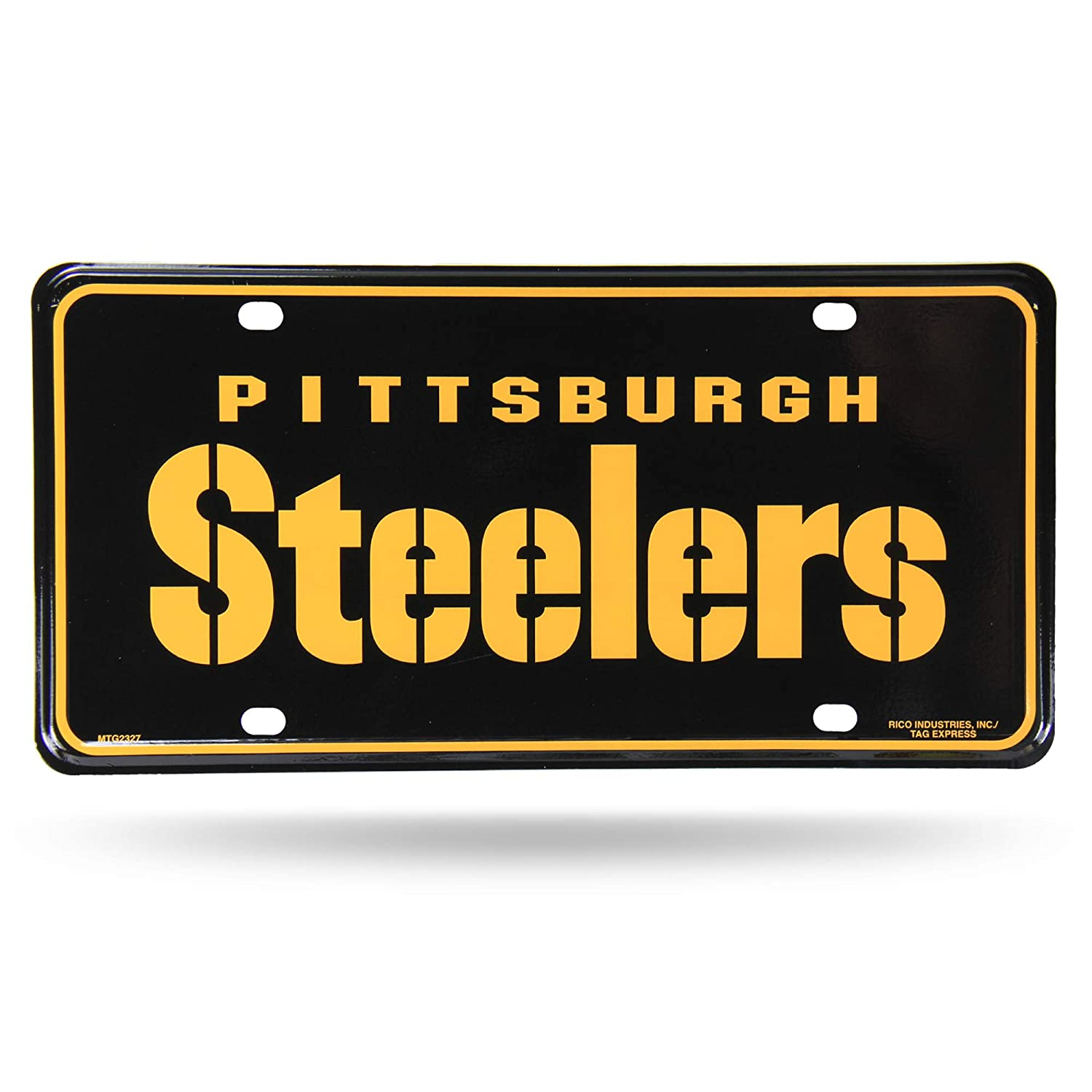 MTG2327 Rico Industries NFL Pittsburgh Steelers Metal License Plate Tag Inc
