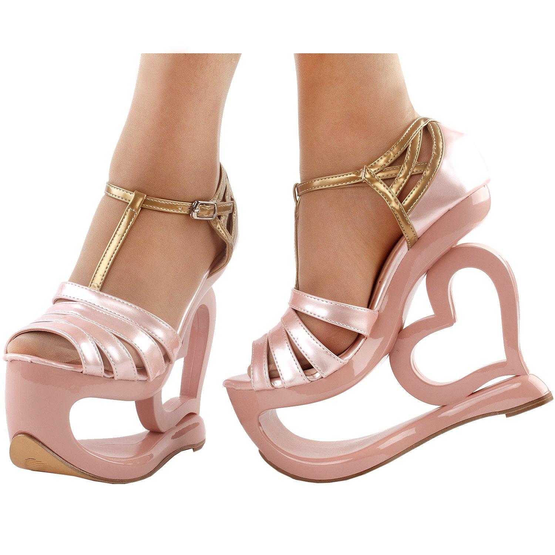 39f30faf6522 Show Story Elegant Baby Pink T-Strap Heart Heel Wedge Bridesmaid Wedding  Sandals