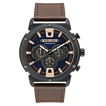 Police Reloj Cronógrafo para Hombre de Cuarzo con Correa en Cuero 15047JSB/03: Amazon.es: Relojes