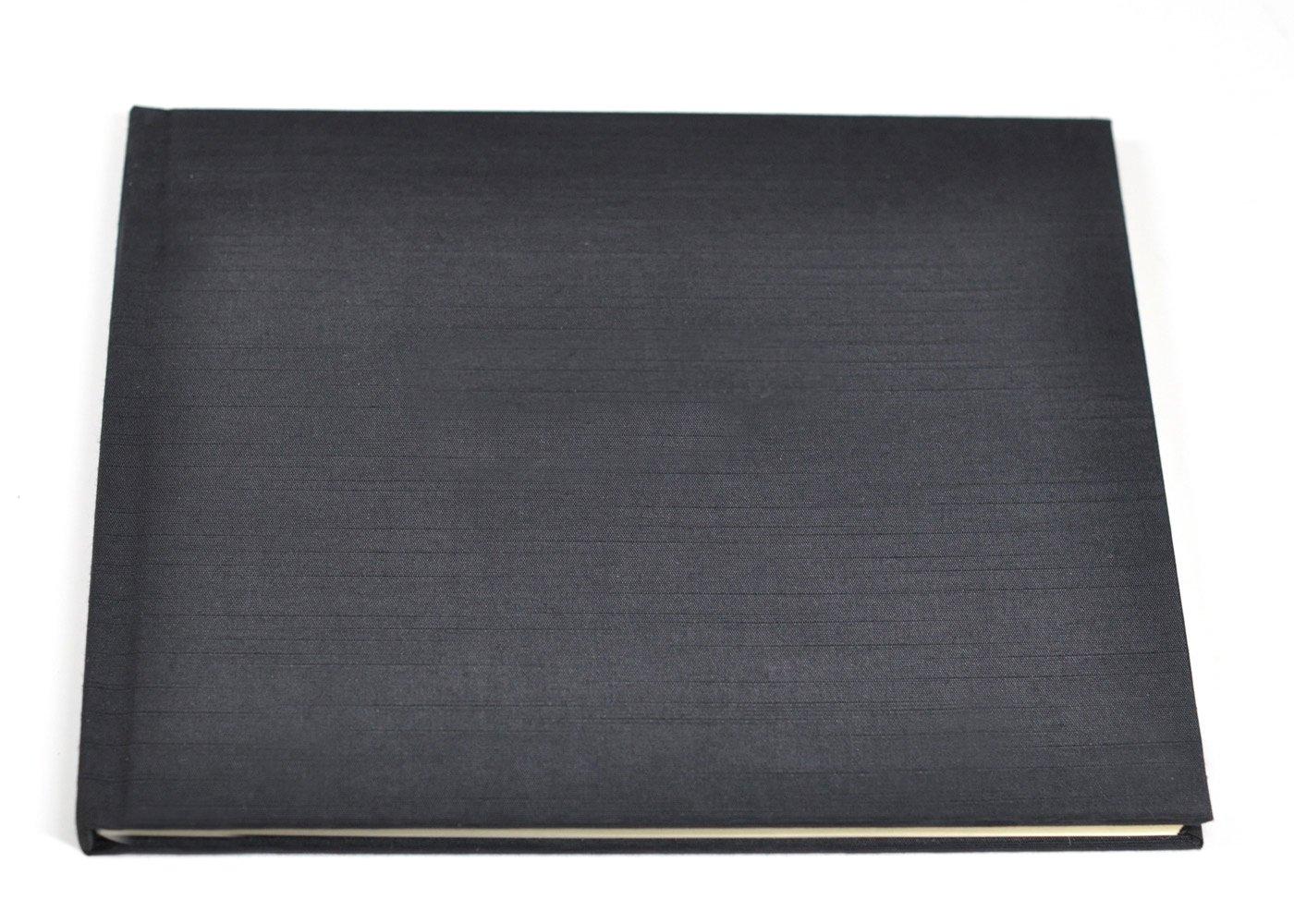 裏地なしゲストブックまたはメモリーブックwith空白ページ – ブラックサテン   B00GTXOE3G