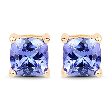 dec3ee2e3ed6ed Image Unavailable. Image not available for. Color: Genuine Cushion  Tanzanite Earrings in 14k Yellow Gold