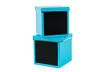 Bigso Suzanne Chalkboard Storage Box, Blue, Set Of 2