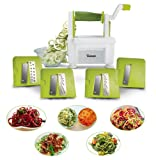 Coupe-légumes spirale twinzee-4 lames interchangeables-design innovant pour un rangement optimisé-le meilleur spiraliseur pour faire des spaghettis,vermicelles,rubans et nouilles de fruits et légumes