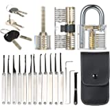 Goofly 15pcs Lock Picking Set Kit Tool with Three Transparent Practice Training Padlock Lock for Locksmith Beginners and…