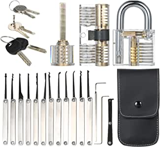 Goofly 15pcs Lock Picking Set Kit Tool with Three Transparent Practice Training Padlock Lock for Locksmith Beginners and Professional