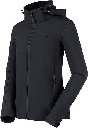Women Softshell Fleece Jacket Hood - Waterproof Insulated Jacket Workout Zip Up Outerwear Fall Winter Coat