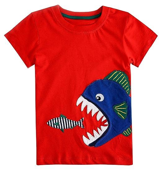 Aosta Betty T-Shirt Para Niños Camiseta Casual Manga Corta Cuello Redondo Patrón Algodón Transpirable Estampado de Tiburón Suave Cómodo Rojo Escuela 7T: ...