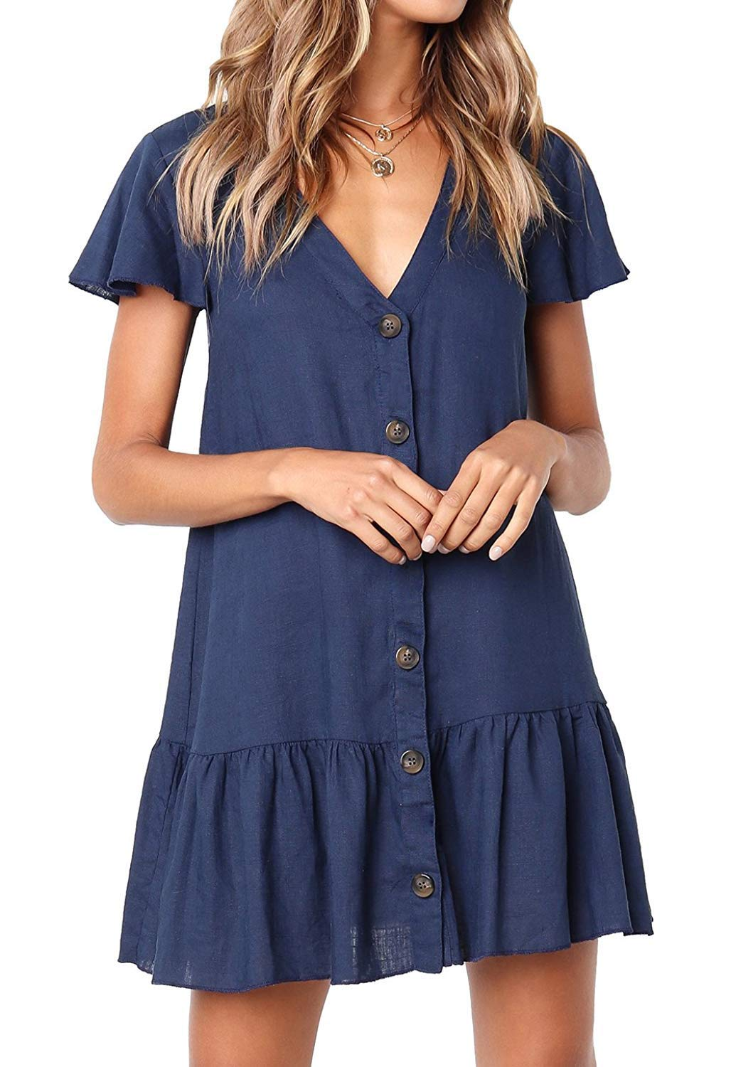 ren ze Womens Ruffles Short Sleeve V Neck Button Down Shirt Dresses Summer Short Dress Blue L