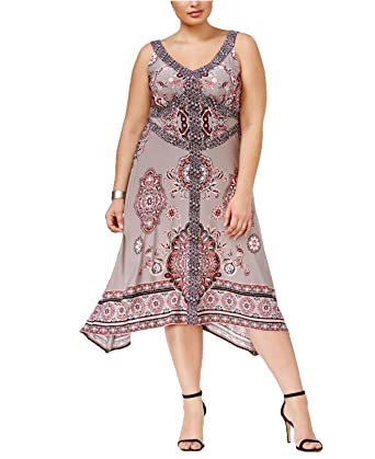cde829bf6b9 INC International Concepts Plus Size Printed Handkerchief-Hem A-Line Dress  (0X)
