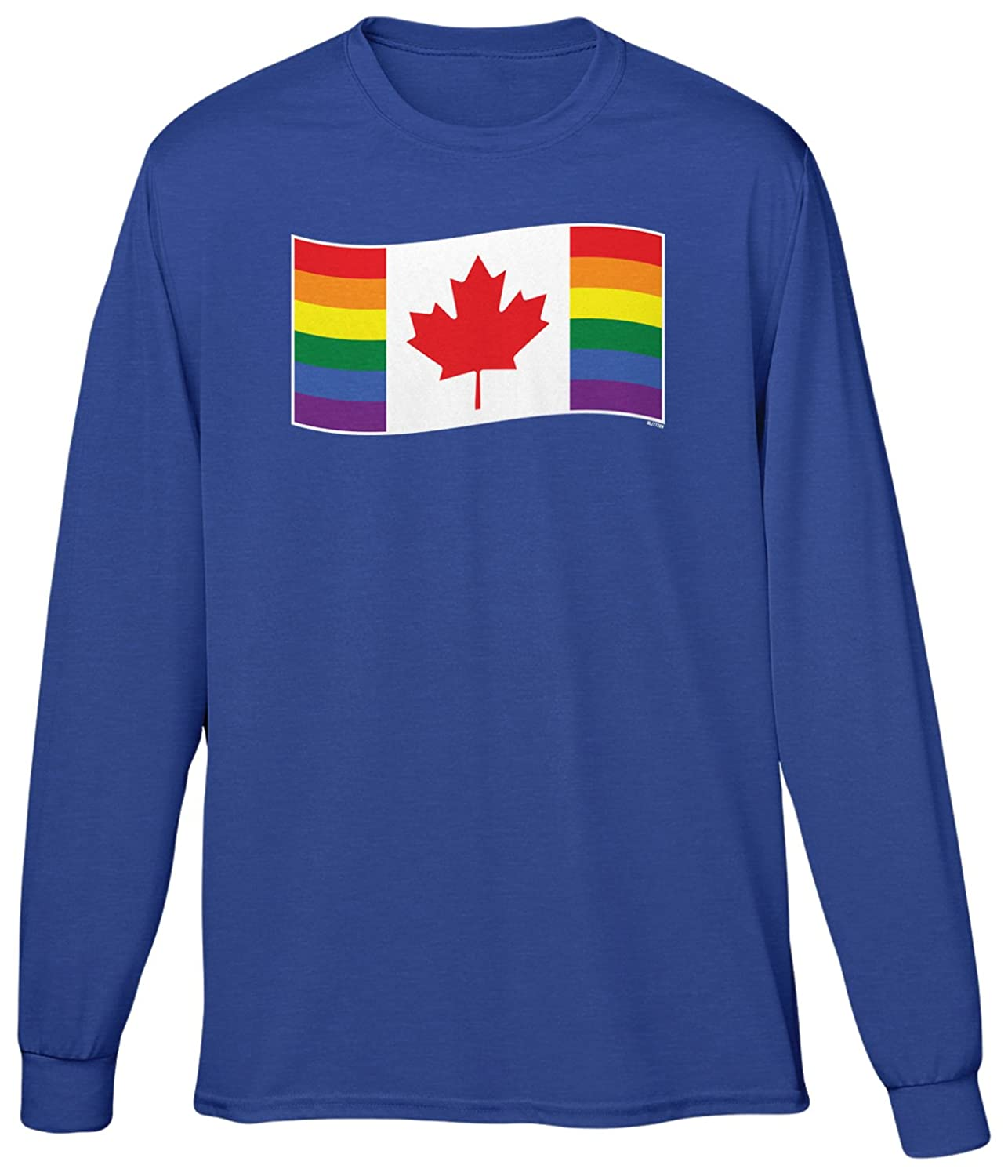 Blittzen Mens Long Sleeve T-shirt Canada Gay Pride Flag
