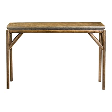 Rustic Tribal Weathered Wood Console Table   Sofa Lodge Tropical Furniture