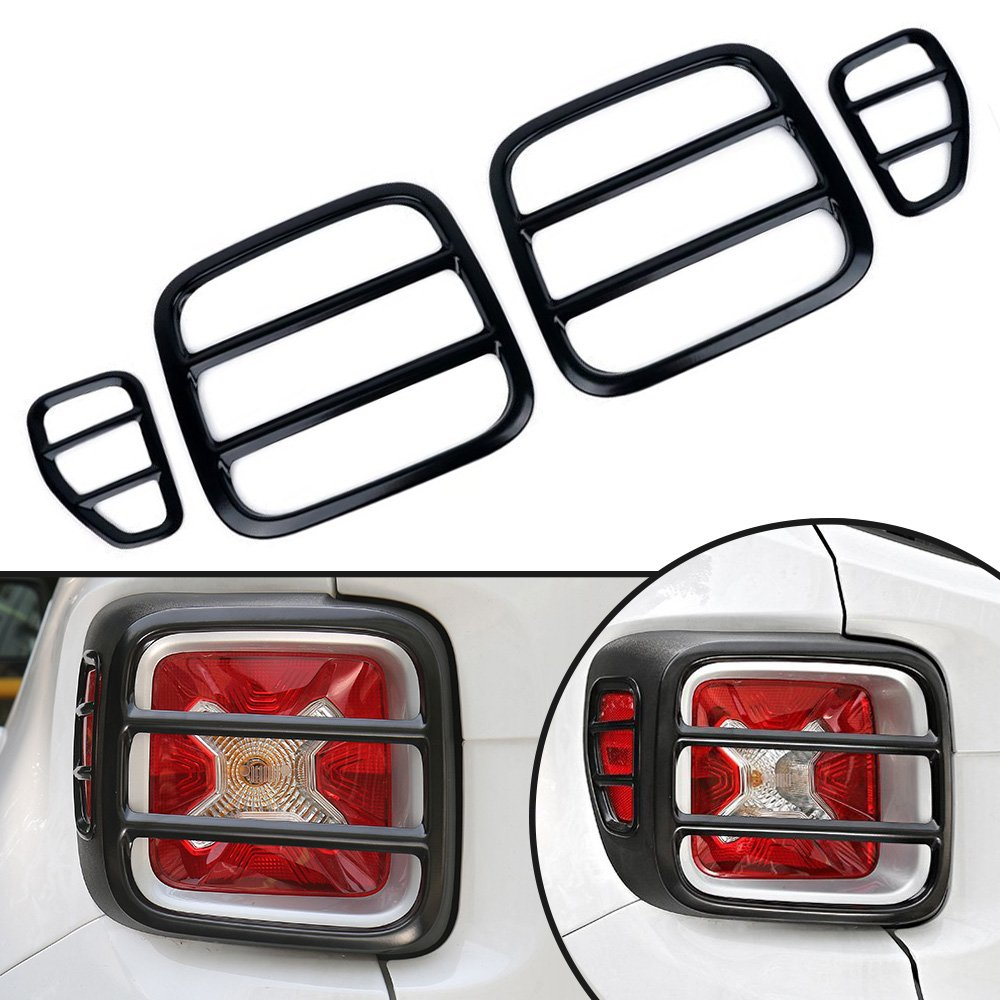Auovo Taillight Trim Covers for Jeep Renegade 2015 2016 2017,Rear Lamp Trim Guard Protectors Backlight Frame for Jeep Renegade Accessories (Black, 4PCS/Set)