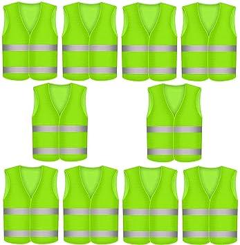 10 Warnwesten Unfallweste Neon Gelb AUTO Warnweste Sicherheits Weste KFZ EN 471